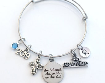 Religious Studies Graduation Bracelet, 2019 Gift, Student Grad Silver Bangle, She believed she could so she did, Cross Jewelry her