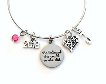 2019 Graduation Gifts for Women Charm Bracelet, She believed she could so she did Jewelry Bangle initial birthstone Present can daughter