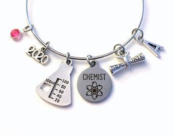 Graduation Gift for Chemist 2020 Charm Bracelet, Chemistry Science Student Grad Silver Bangle custom initial letter personalized her