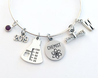 Graduation Gift for Chemist 2019 Charm Bracelet, Chemistry Science Student Grad Silver Bangle custom initial letter personalized her