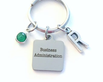 Business administration Keychain, BBA Gift for Son Daughter Graduation Present, Key Chain Keyring Jewelry Initial Birthstone retirement her