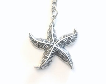 Large Starfish Keychain, Star Fish Key Chain, Beach Ocean Keyring Silver Jewelry Birthday present Teen Teenage Boy Man Men Girl Women Woman