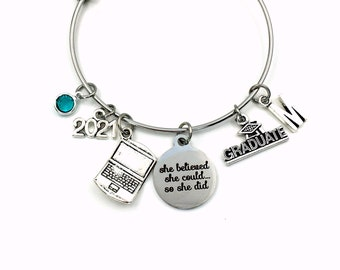 Computer Science Graduation Gift, 2021 Engineer Grad Jewelry for Software Design Bracelet Silver Bangle Graduate Laptop Charm her Business