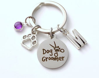 Dog Groomer Keychain, Doggie Grooming Key Chain, Thank you Keyring, Gift for Groomer Christmas Present husband wife dad mom pet paw scissors