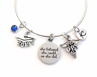 Gift for DPT Graduation Present, 2019 Doctor of Physical Therapy Bracelet Jewelry, Charm Bangle Therapist, She Believed She could Silver