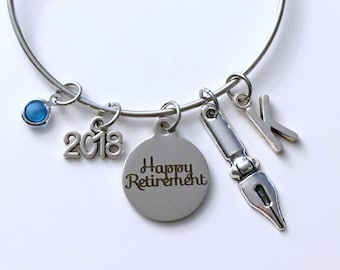 Retirement Gift for Writer, Publisher Office Women Author Secretary Charm Bracelet Jewelry Silver Bangle Coworker initial birthstone Present