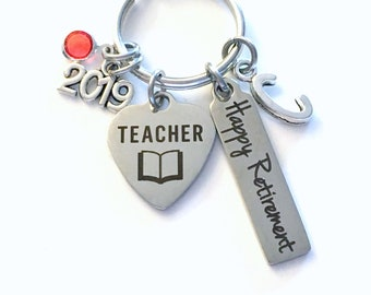 Teacher Retirement Present, 2019 School Principal Keychain Gift for Women or Men Retire, Key Chain Keyring him her Personalized Custom 2020