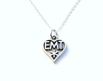 EMT Necklace, Silver EMT Emblem Jewelry, Gift for EMT Present, Paramedic, Men's Ambulance Man Graduation Male Long Short Chain Charm 99