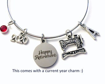 2021 Retirement Gift for Women / Seamstress Charm Bracelet /Costume Designer Jewelry / Sewing Silver Bangle / Tailor Retiree Present