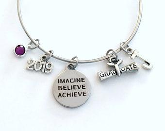 Graduation Gift for Her Bracelet, Imagine Believe Achieve Jewelry, High School Teen Girl College Grad 2019 Silver Teenager Teenage scroll