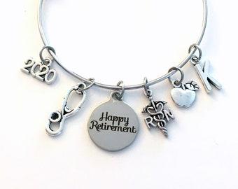 School Nurse Retirement Gift for RN, 2020 Charm Bracelet Boss RN Jewelry Silver Bangle Coworker initial women initial custom Present