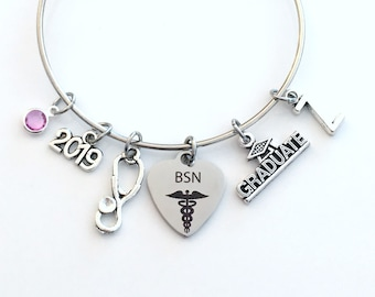 BSN Graduation Bracelet, 2019 Gift for Bachelor of Science Nursing RN Nurse Student Grad Charm Bangle initial in jewelry Stethoscope