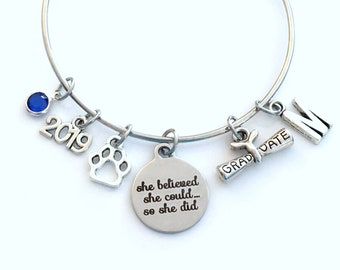 Gift for Veterinarian Graduation Bracelet, 2019 Assistant Technician Student Grad, Jewelry Graduate Student Charm Scroll Initial women
