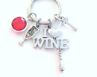 I love Wine Keychain, Wine Key Chain, Vineyard Keyring Glass Bottle Gift Alcohol Jewelry Bartender 21st Birthday present Party Girl her mom