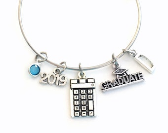 High School Graduation Bracelet, Calculator Math Gift for 2019 Student Grad Bangle University Jewelry College Masters Initial Letter