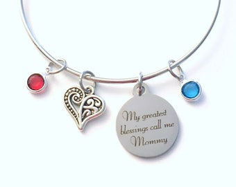 My greatest blessings call me Mommy Bracelet, You pick # of Birthstone Gift for Mother Jewelry Charm Bangle from kids children 2 3 4 5 6 7 8
