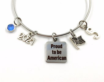 New Citizenship Gifts / US Citizen Jewelry / 2021 Proud to be American Bracelet / USA Present for Refugee / Home America Flag Immigration