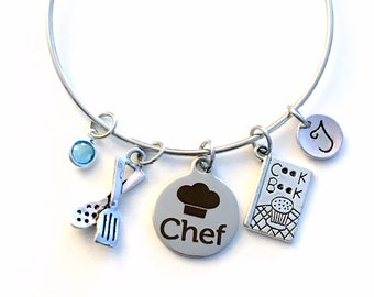 Chef Bracelet, Gift for Chef Charm Bangle, Culinary Student Graduation, Mother's Day Present, Aunt Sister Grandma Jewelry Silver Birthday