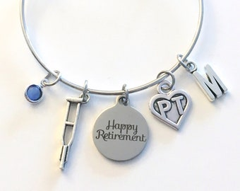 PT Bracelet Retirement Gift for Physical Therapy Jewelry, Therapist Assistant Charm Bangle, Silver Crutches Crutch Caduceus birthstone her