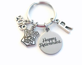 Retirement Gift for Police Officer Keychain 2019 Policeman Policemen Him Her Dad Key chain Keyring Retire Coworker Initial letter Chief Sgt
