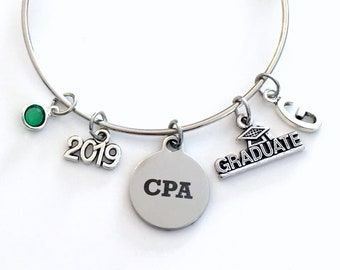 Graduation Gift for CPA, 2019 Charm Bracelet Chartered Accountant Grad present Accounting Women Bangle Jewelry initial letter her lady 2019