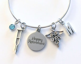 Retirement Gift for DPT Bracelet, Doctor of Physical Therapy Jewelry, Therapist Charm Bangle, Silver Crutches Crutch Caduceus birthstone her