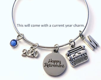 Retirement Gift for Secretary / 2021 Writer Publisher Jewelry / Office Manager Charm Bracelet / Women Author Silver Bangle Coworker present