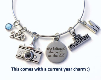 Photography Graduation Bracelet, 2021 Photographer Grad Gift for Student, She Believed she could so she did present, Film Camera her women