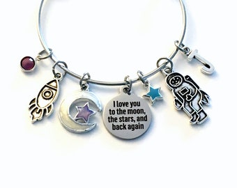 I love you to the moon the stars and back again Charm Bracelet for Daughter / 60mm Gift for Girl Jewelry / Space Rocket and Astronaut
