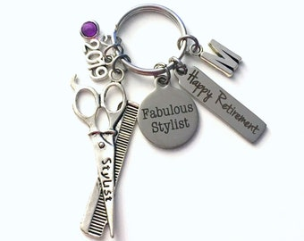 Retirement Gift for Hairdresser Keychain, 2019 Hair Stylist Keyring, Salon Owner Retire Key Chain, Present him her women charm woman Dresser