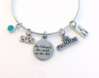 Graduation Bracelet Gift 2020 / She believed she could so she did University Grad Jewelry / College Graduate Student Present / Silver Bangle
