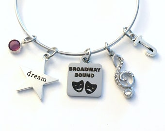 Broadway Bound Charm Bracelet / Drama Gift for Daughter Jewelry / 60mm Musical Theatre Student Performer / Rhinestone Music Note Dream Charm