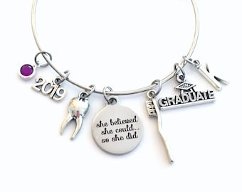 Graduation Gift for Dental Assistant, 2019 DA Jewelry Charm Bracelet Bangle Graduate Dentist Women Her She believed she could so she did CDA