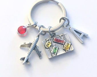 Gifts for Pilots Keychain, Travel Agent Key Chain, Flight Attendant Gift Keyring, Adventure leaving home  Initial Women Men Him Her moving