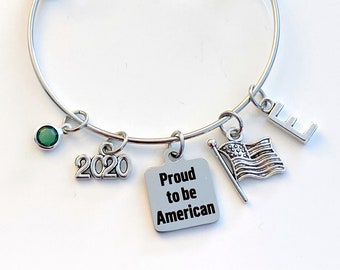 New US Citizen Gift Jewelry, 2020 Proud to be American Bracelet, Charm Bangle Silver Present for Refugee Home America USA Flag Immigration