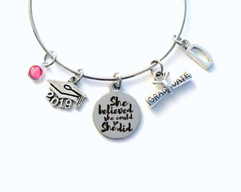 She believed she could so she did Graduation Gift for Her, Grad Charm Bracelet Present for Daughter, Granddaughter, Niece Best Friend
