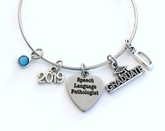 Speech Language Pathologist Graduation Gift, 2019 Therapist Therapy Grad Charm Bracelet Silver Bangle, ST Jewelry letter birthstone SLP