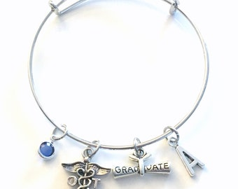 Graduation Gift for OT Bracelet, Occupational Therapy Jewelry, Therapist Charm, Silver Medical Caduceus women birthstone initial letter her