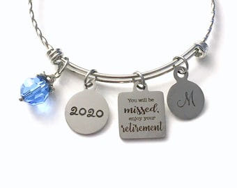Retirement Gifts for Women, 2020 Co-worker Retirement Charm Bracelet, You will be missed, enjoy your retirement Jewelry, Stainless Steel