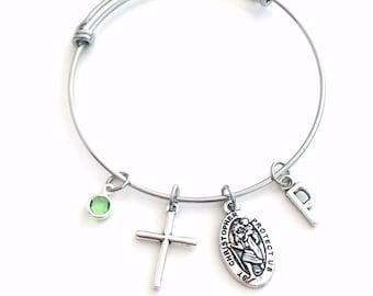 Saint Christopher Bracelet, St Chris Jewelry Present, Stainless Steel, Religious Cross Charm Gift, Protection safe, patron saint of travel