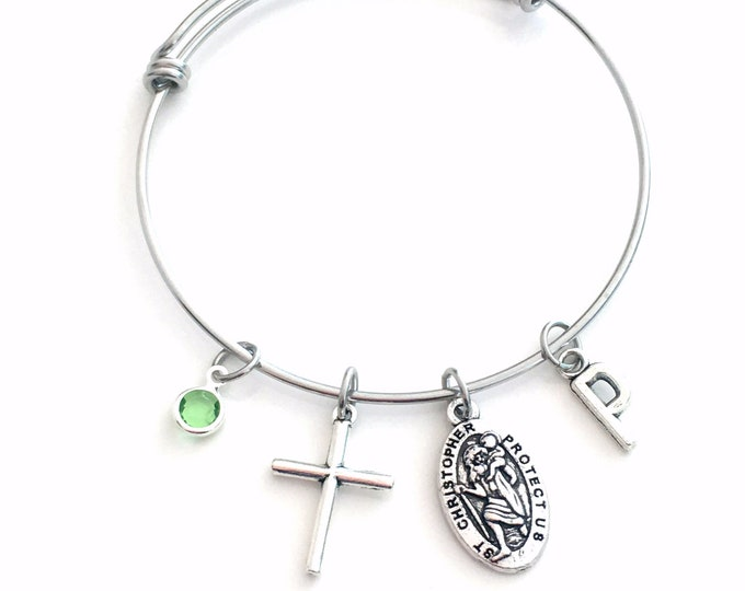 Featured listing image: Saint Christopher Bracelet, St Chris Jewelry Present, Stainless Steel, Religious Cross Charm Gift, Protection safe, patron saint of travel