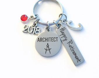 Architect Retirement Present, 2018 Architecture Keychain Gift for Architectural Technology Retire, Key Chain Keyring him her men women 2019