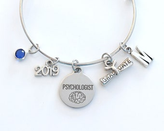 Graduation Gift for Psychologist Charm Bracelet, 2019 Psychology Grad Psych Student Silver Bangle Therapy initial birthstone Brain 2019
