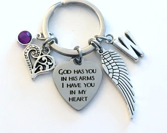 Sympathy Gift Keychain, God has you in his arms I have you in my heart Key Chain, Memorial Loss of Infant Son / Daughter, Miscarriage Mommy
