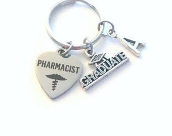 Pharmacist Graduation Present, Pharmacy Keychain, Gift for Rx Graduate 2021 Key Chain Grad Keyring Initial letter her him men women 2022