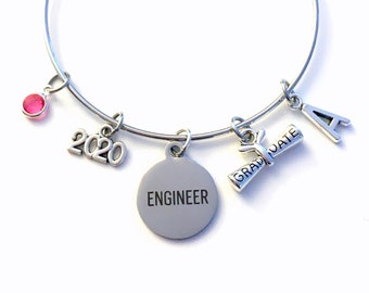 Engineer Graduation Bracelet, Gift for Engineering Student Jewelry 2020 Charm Bangle Silver initial Birthstone Personalized Custom Civil her