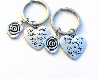 Set 2 Heart Keychain, Matching Valentine's Day Gift for Boyfriend Girlfriend Key Chain, You are always in my heart Keyring, Mother Daughter