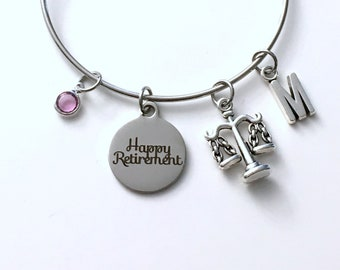 Retirement Gift for Law Secretary, Lawyer Legal Charm Bracelet Jewelry, Silver Bangle Coworker letter initial birthstone Retire Present Boss