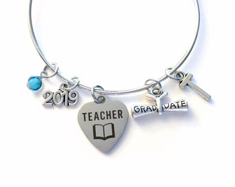 Graduation Gift for Teacher Bracelet, 2019 Teaching Grad Education Student Silver Bangle Jewelry Graduate Charm letter initial birthstone