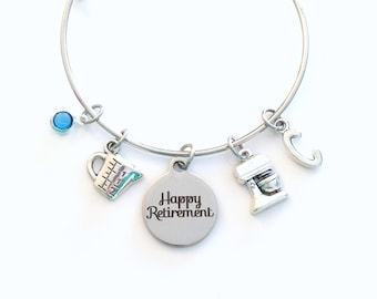 Retirement Gift for Pastry Chef, Line Cook Baker Women Mixer Charm Bracelet Jewelry Silver Bangle initial birthstone Present mother mom